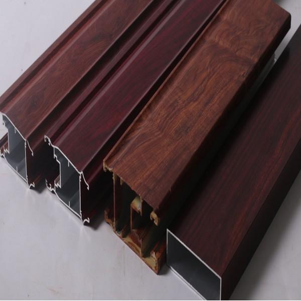 Wood Grain Printing Powder Coated Aluminum Profile